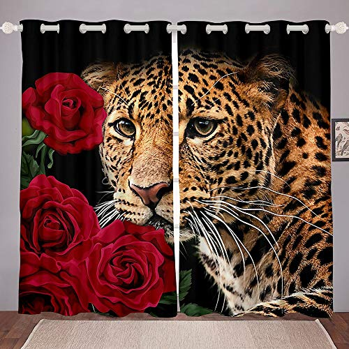 """Red Rose Curtains 3D Cheetah Window Treatments,Cat Leopard Print Curtains Panels for Living Room,Animal and Plant Bedroom Window Drapes 2 Panels Set Home Decorations, 38""""X54"""""""