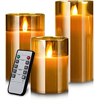 Yinuo Mirror LED Flameless Candles, Real Wax Moving Effect Flickering Glod Glass Candles Set, Pillar Battery Operated Candles with Timer Remote,4