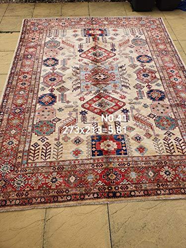 Handgefertigter Afghanischer Kazak Teppich, feine Wolle auf Baumwollfundament, 100 % handgeknotet (46RQS0030) (197 x 145 cm)