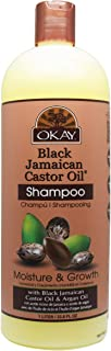 OKAY   Black Jamaican Castor Oil Moisture Growth Shampoo   For All Hair Types & Textures   Moisturize & Regrow Hair   With Argan Oil   Free of Paraben, Silicone, Sulfate   33 oz