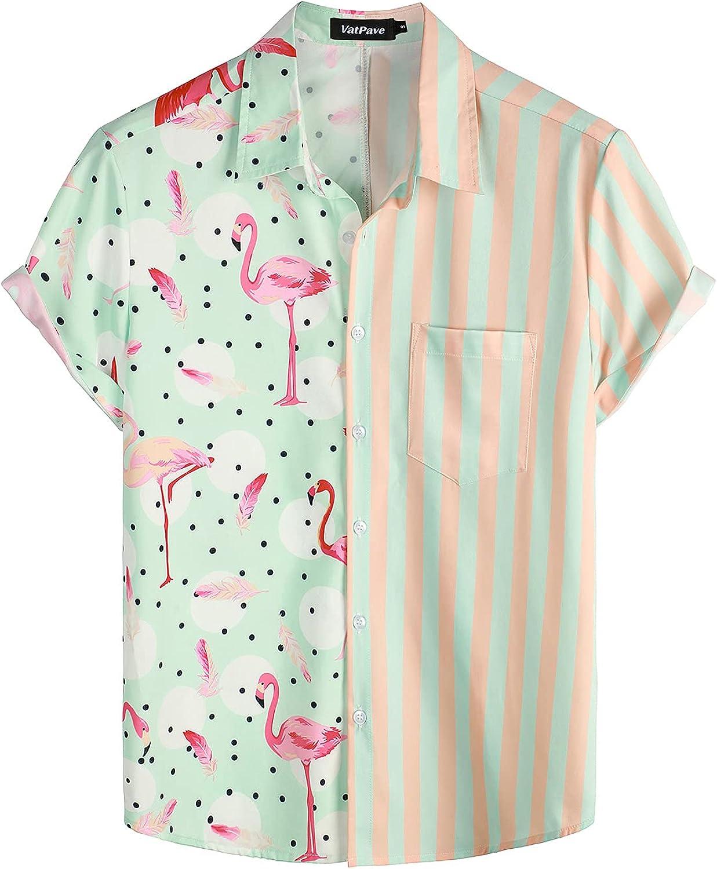 VATPAVE Mens Hawaiian Flamingo Shirts Casual Short Sleeve Button Down Shirt Summer Shirts