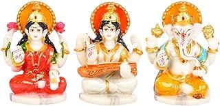 Sharvgun Lakshmi Ganesh Saraswati Marble Idols Statues for Pooja Room Multicolor Indian Meditation Temple Mandir Puja Items