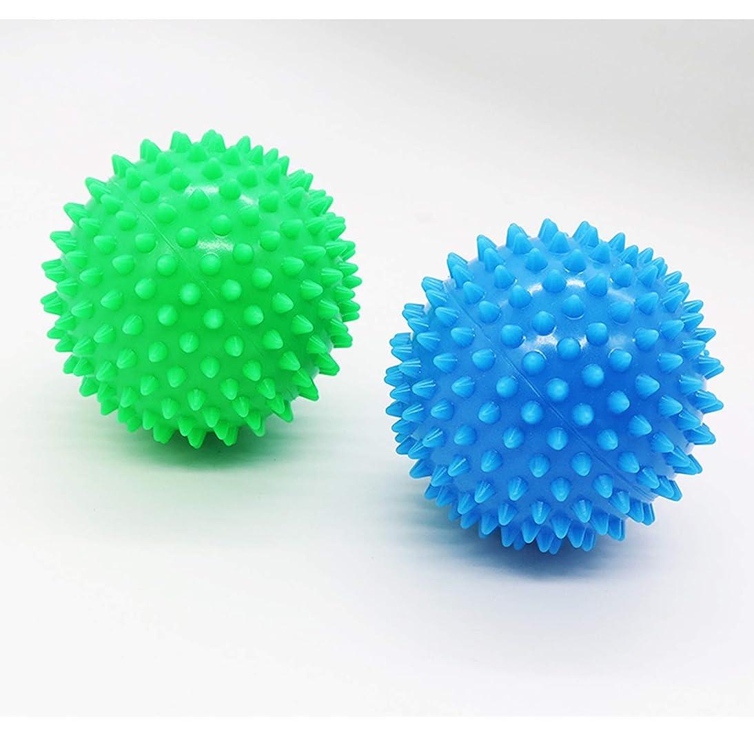 ハードウェアベル買うDreecy マッサージボール(2個セット)触覚ボール リフレックスボール トレーニングボール  ポイントマッサージ 筋筋膜リリース 筋肉緊張和らげ 血液循環促進 9cm(青+緑)