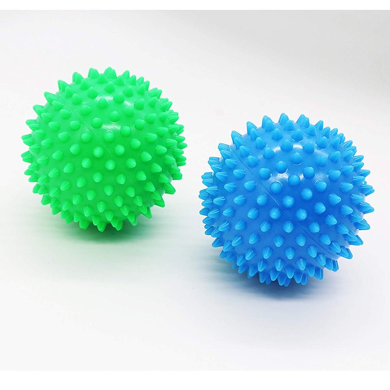 整理する時々時々食器棚Dreecy マッサージボール(2個セット)触覚ボール リフレックスボール トレーニングボール  ポイントマッサージ 筋筋膜リリース 筋肉緊張和らげ 血液循環促進 9cm(青+緑)