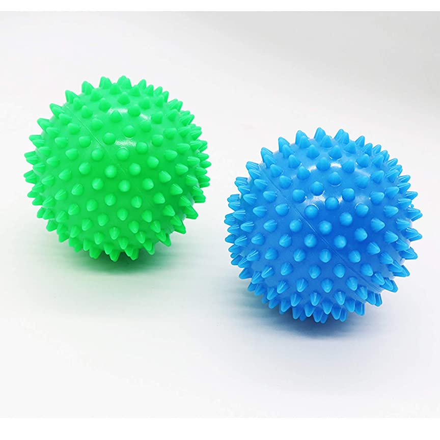 プロジェクター化学薬品ボイコットDreecy マッサージボール(2個セット)触覚ボール リフレックスボール トレーニングボール  ポイントマッサージ 筋筋膜リリース 筋肉緊張和らげ 血液循環促進 9cm(青+緑)