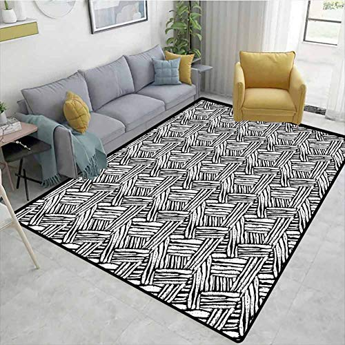 Affordable Bigdatastore Black and White High Traffic Area Rug Kids, Hand Drawn Doodle Style Sketch B...