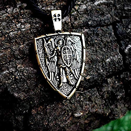 Yaoliangliang Saint St. Necklace Archangel Cross Shield Prayer Medal for Him Or Her Unisex Catholic Jewelry Length About 45Cm