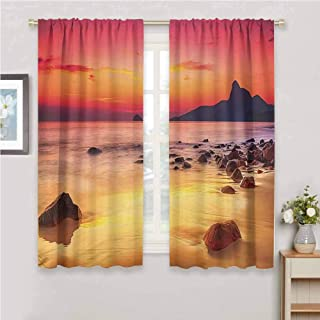 GUUVOR Scenery House Decor for Bedroom Blackout Curtains Digital Photo of Mystic Sunrise Over The Sea with Stones and Cliffs Blackout Curtains for The Living Room W63 x L72 Inch Orange Yellow