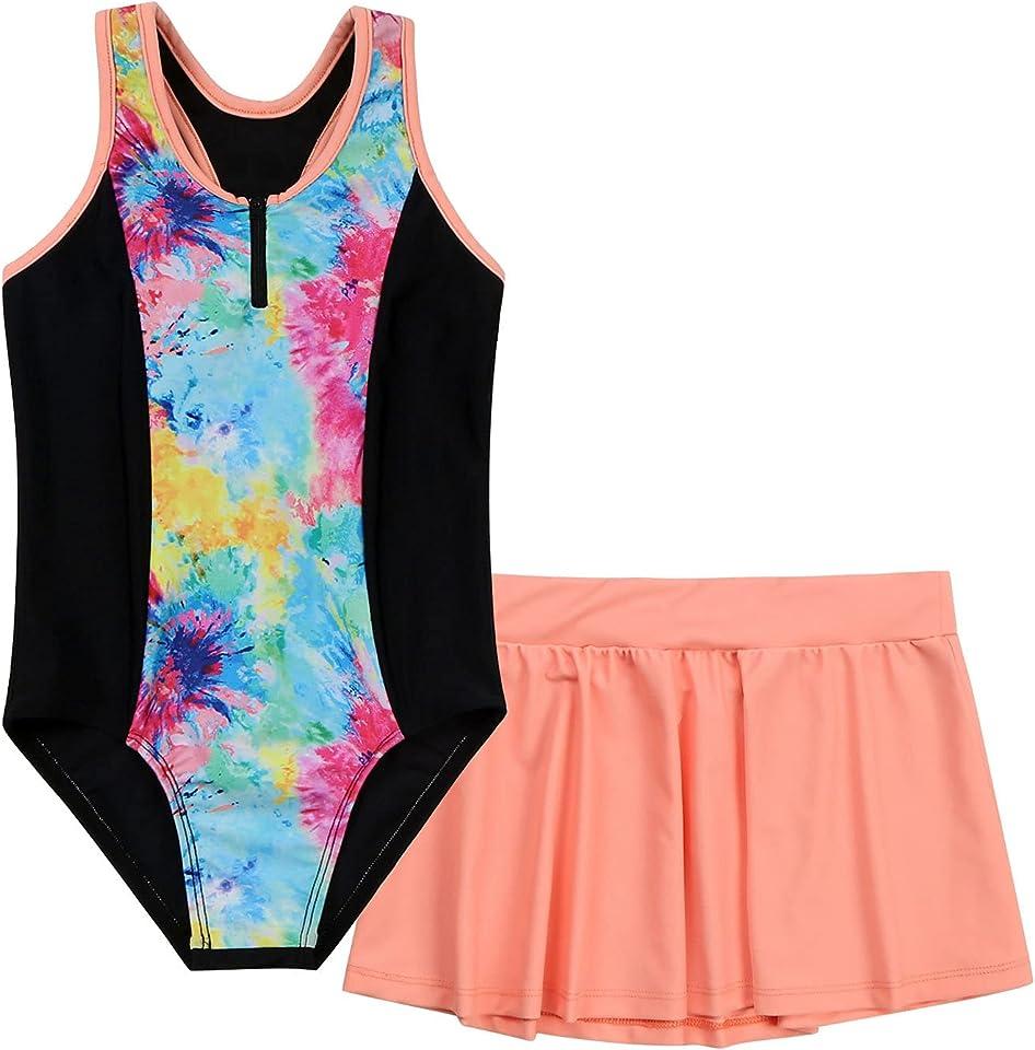 Mädchen Tankini Set mit Shorts und Rock 3 PCS Badeanzug Oberteile Tank Top Baderock Badeslip zum Schwimmen Schwimmanzug in Lila gr. 98-164