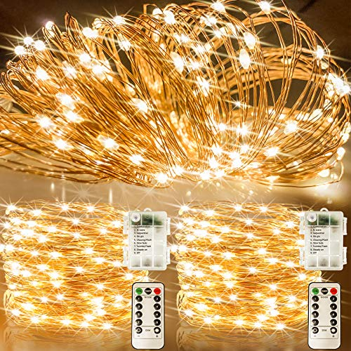 LiyuanQ Fairy Lights Battery Operated 33 Ft 100 LED Christmas String Lights, Upgraded 8 Modes Waterproof Copper Wire Lights with Remote Twinkle Starry String Lights for Bedroom Christmas Decor