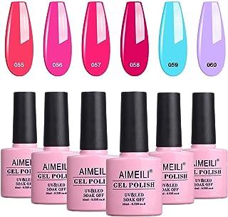 AIMEILI Soak Off UV LED Gel Nail Polish Multicolour/Mix Colour/Combo Colour Set Of 6pcs X 10ml - Kit Set 12