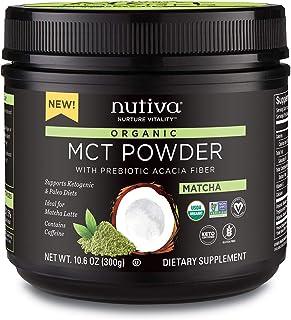 Nutiva Organic MCT Powder with Prebiotic Acacia Fiber, Matcha, 10.6 Ounce - USDA Organic, Non-GMO, Non-BPA - Vegan, Gluten...