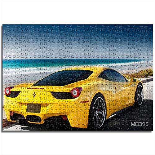 yuhho Familienpuzzle Matte 1000 Ferrari TC Seaside Yellow Sportwagen Familienspiel Team Kinder Puzzle 26x38
