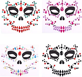 Day of Dead 4 Sets Skull Face Jewels Tattoo Stickers