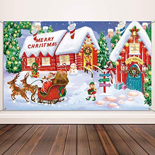 Weihnachten Dekoration Lieferungen, Extra Große Stoff Nordpol Wand Szene Setter für Weihnachten Dekoration, Frohe Weihnachten Banner Weihnachtsmann Dorf Foto Stand Hintergrund Banner