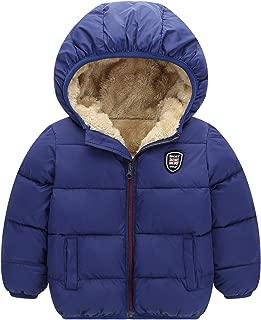 Happy Cherry Boys Girls Hooded Down Jacket Winter Warm Fleece Coat Windproof Zipper Puffer Outerwear 2T-7T