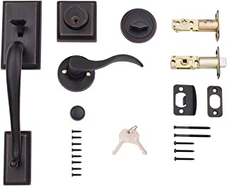 AmazonBasics Modern Exterior Door Handle with Left-Hand Wave Door Lever and Deadbolt Lock Set, Oil Rubbed Bronze