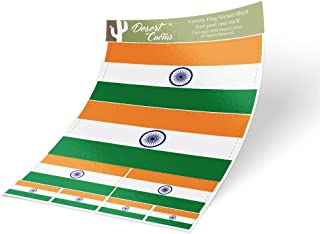 Desert Cactus India Country Flag Sticker Decal Variety Size Pack 8 Total Pieces Kids Logo Scrapbook Car Vinyl Window Bumper Laptop V