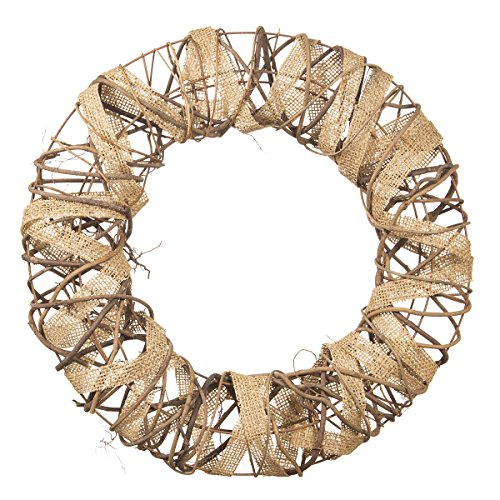Darice Decorative Rustic Wreath with Burlap and Vine Accents...