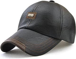 Men's Vintage Adjustable PU Leather Baseball Cap Outdoor Sports Driving Sun Hat