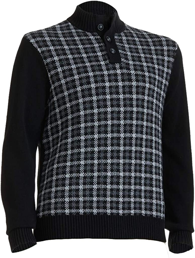 Chaps by Ralph Lauren Men's Big & Tall Black Crowley Grid Stand-Up Collar Pullover Sweater