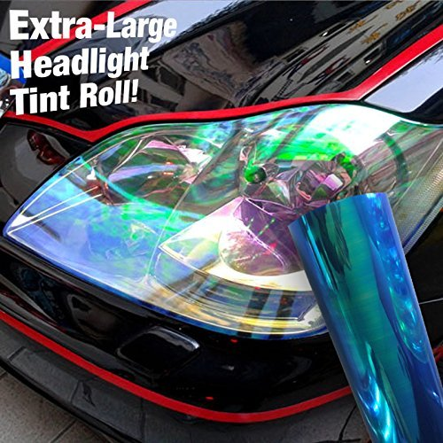 Gloss Chameleon Vinyl Headlight Wet Tinting Adhesive Extra Large 12 Inchx 60 Inch Wrap Roll (Blue Rainbow)