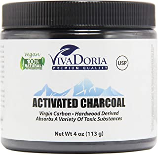 Viva Doria Virgin Activated Charcoal Powder, Hardwood Derived, Food Grade, 4 Oz (113 Grams)