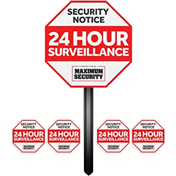 Security Sign w/ Stake & 4 Window Decal Alarm Sign (UV Fade Proof / Coated)