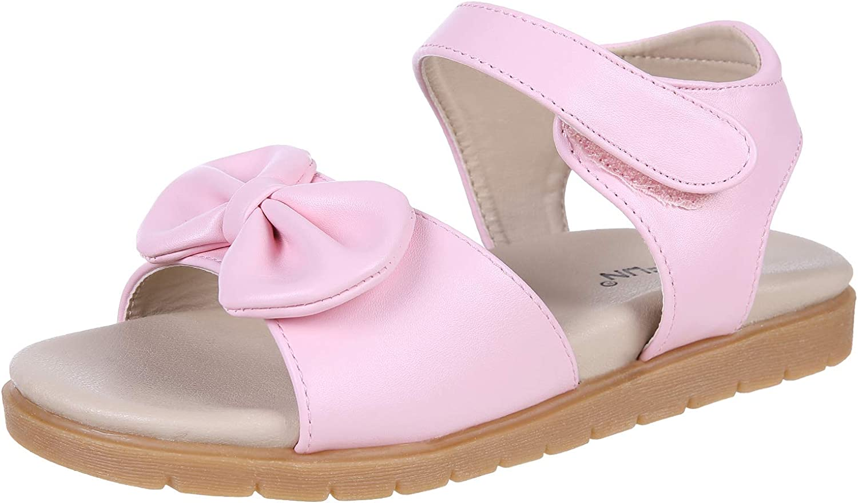 Litfun Flat Sandals for Leather Baltimore Mall Summer Kids Girls Award-winning store