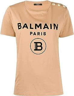Balmain Luxury Fashion Womens TF11350I386GAV Beige T-Shirt |