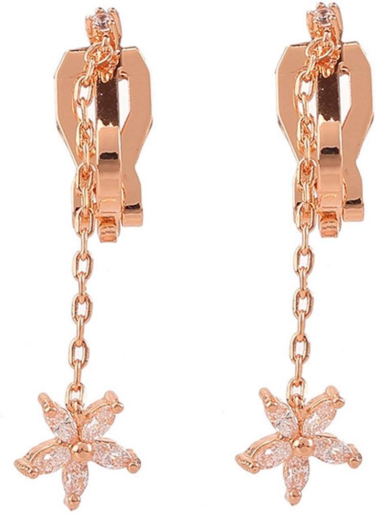 Latigerf Gold Plated Tassel Non-Pierced Clip on Dangle Flower Earring Clips for non Pierced Ears Rhinestone