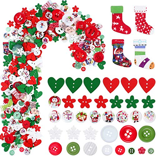 515 Pieces Christmas Wooden Buttons Craft Buttons Christmas Embellishments Mix Christmas Color and Style Sewing Button with 2 Holes for Sewing Scrapbooking Christmas DIY Craft Decoration Accessories