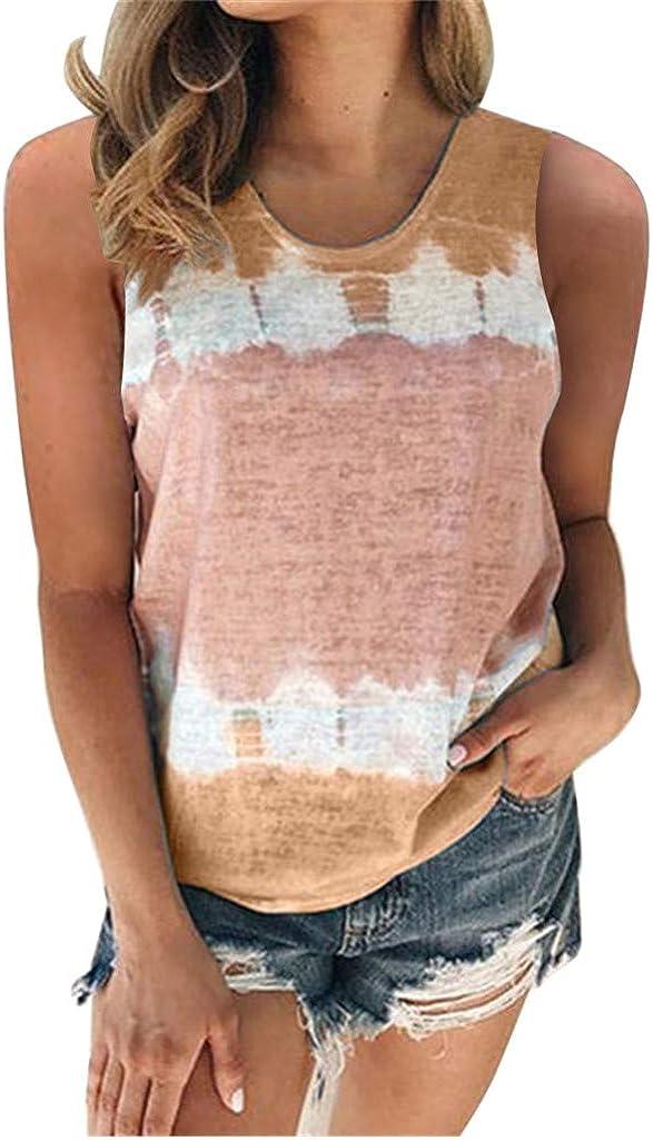 FABIURT Sleeveless Tops for Women, Womens Loose Color Block Crop Cami Tank Top Casual Gardient Print T-Shirt Vest Blouse