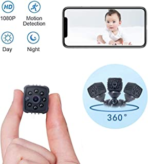 Portable Mini Spy Camera Hidden,1080P Wireless Nanny Camera with Cell Phone App,Night Vision and Motion Detection Remote Monitoring-Security for Pet,Baby,Indoor,Home and Office(Black)