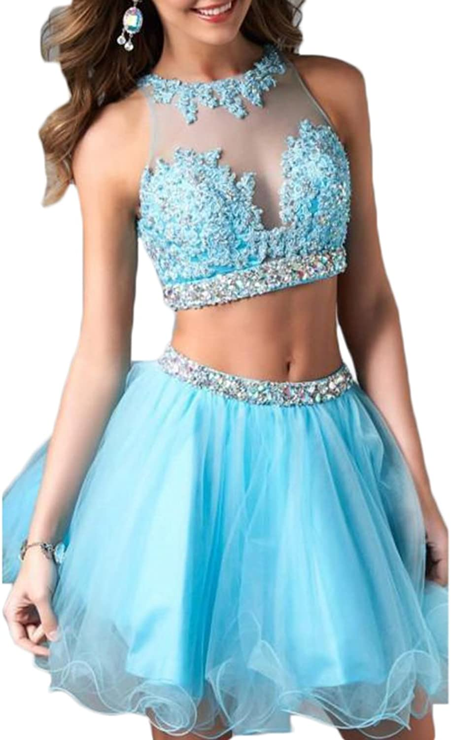 Alilith.Z Sexy Illusion Appliques Beaded Crystal 2 Piece Short Homecoming Prom Dresses Formal Evening Party Gowns for Women