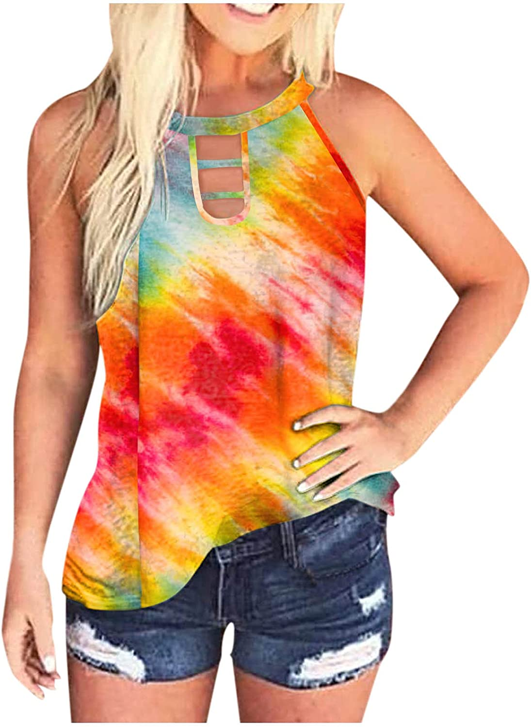 Sleeveless Tops for Women Dressy,Women Tank Tops Summer Scoop Neck Camis Tops Sleeveless Ribbed Shirts Racerback Blouses Camisole