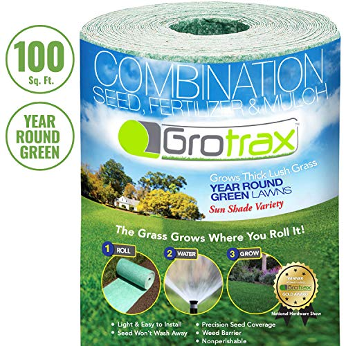 Grotrax Biodegradable Grass Seed Mat, Year Round Green - 100 Square Feet Big Roll - All In One Growing Solution For Lawns, Dog Patches and Shade - Just Roll Water & Grow - Not Fake or Artificial Grass