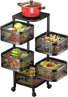 SADCK Chariots de Cuisine rotatifs avec Support de Rangement de Roues Cuisine Support de légumes Rotatif Plancher Debout M...
