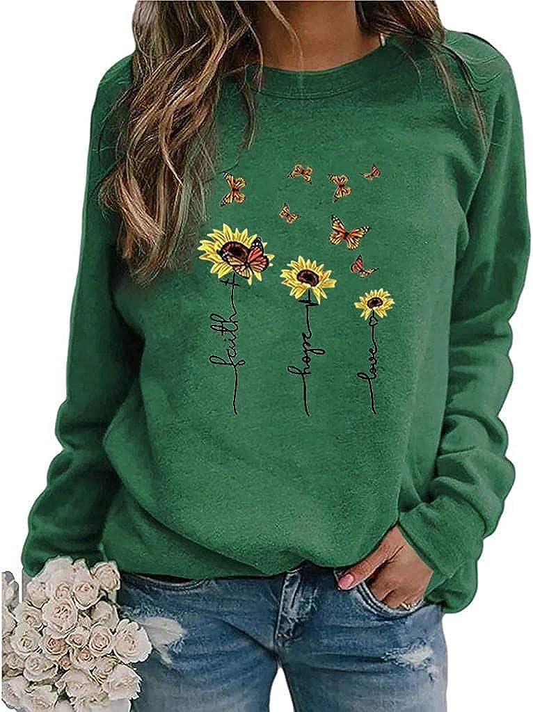 POLLYANNA KEONG Sweatshirts for Women,Womens Crewneck Long Sleeve Shirt Soft Lightweight Loose Top