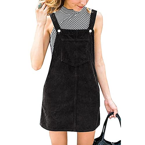 Annystore Womens Corduroy Suspender Skirt Mini Bib Overall Pinafore Dress  with Pocket 17326e996dbe