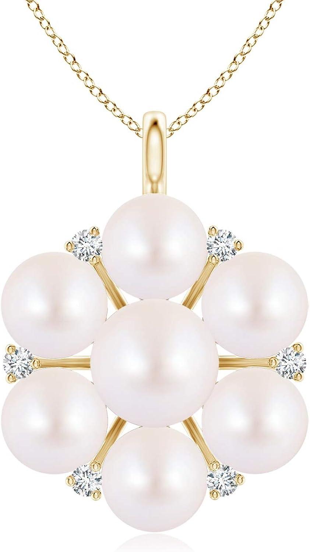 Max 70% OFF Akoya Cultured Popular Pearl and Diamond Flower Cultu 6mm Pendant