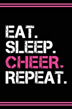 Cheerleader Journal Girls Cheerleading Diary: Blank Lined Notebook + Goals and Wish List | Black Cover with Pink Bow & Eat Sleep Cheer Repeat