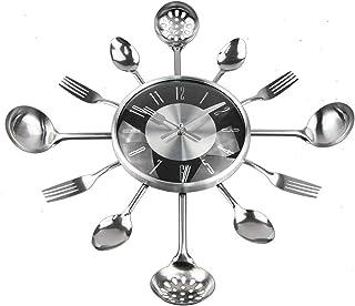 キッチンダイニングルーム用の創造的な装飾的な壁時計、18インチのモダンなメタルクォーツ時計スプーンフォーク家の装飾