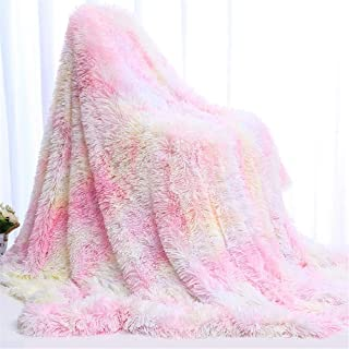 SUCSES Rainbow Fleece Blanket for Bed Sofa Couch, Long Shaggy Tie-Dyed Faux Fur Blankets (Light Pink, 63x79 Inch)