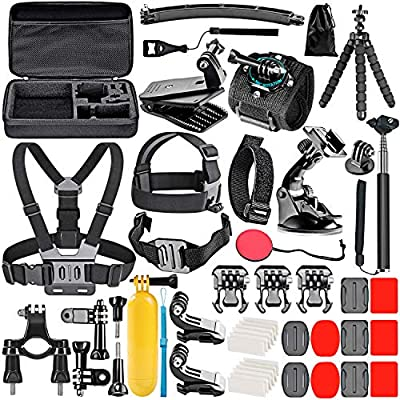 Neewer 50-In-1 Action Camera Accessory Kit Compatible with GoPro Hero 8 Max 7 6 5 4 Black GoPro 2018 Session Fusion Silver White Insta360 DJI AKASO APEMAN Campark SJCAM Action Camera etc