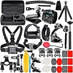 Neewer 50-In-1 Action Camera Accessory Kit, Compatible with GoPro Hero9/Hero8/Hero7, GoPro Max, GoPro Fusion, Insta360… 8 Ultimate Compatibility: Compatible with most action cameras, including GoPro Hero9 Black, Hero8 Black, GoPro Max, GoPro Fusion, and its earlier models. Also suitable for DJI Osmo Action, Insta360, AKASO, APEMAN, Campark, SJCAM, etc Straps for Head, Chest & Helmet: Designed for all head sizes and body shapes, the straps secure the camera on your head and chest for taking breathtaking POV shots of surfing, skateboarding, parachuting, and bungy jumping. The helmet strap tightly fastens your camera on a helmet for road biking races, mountain bike trails, and BMX Wrist Strap & Floating Handle Grip: The wrist strap with a 360° rotatable mount is easily adaptable to fit your wrist and arm for taking shots from different angles. The floating handle grip keeps your camera afloat in the water when swimming or snorkeling