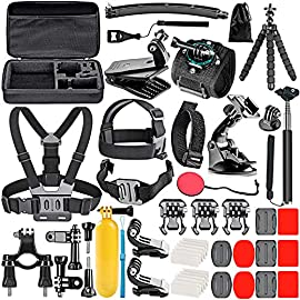 Neewer 50-In-1 Action Camera Accessory Kit, Compatible with GoPro Hero9/Hero8/Hero7, GoPro Max, GoPro Fusion, Insta360… 9 Ultimate Compatibility: Compatible with most action cameras, including GoPro Hero9 Black, Hero8 Black, GoPro Max, GoPro Fusion, and its earlier models. Also suitable for DJI Osmo Action, Insta360, AKASO, APEMAN, Campark, SJCAM, etc Straps for Head, Chest & Helmet: Designed for all head sizes and body shapes, the straps secure the camera on your head and chest for taking breathtaking POV shots of surfing, skateboarding, parachuting, and bungy jumping. The helmet strap tightly fastens your camera on a helmet for road biking races, mountain bike trails, and BMX Wrist Strap & Floating Handle Grip: The wrist strap with a 360° rotatable mount is easily adaptable to fit your wrist and arm for taking shots from different angles. The floating handle grip keeps your camera afloat in the water when swimming or snorkeling