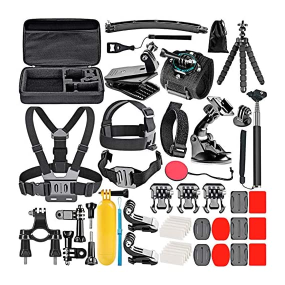 Neewer 50-In-1 Action Camera Accessory Kit, Compatible with GoPro Hero9/Hero8/Hero7, GoPro Max, GoPro Fusion, Insta360… 1 Ultimate Compatibility: Compatible with most action cameras, including GoPro Hero9 Black, Hero8 Black, GoPro Max, GoPro Fusion, and its earlier models. Also suitable for DJI Osmo Action, Insta360, AKASO, APEMAN, Campark, SJCAM, etc Straps for Head, Chest & Helmet: Designed for all head sizes and body shapes, the straps secure the camera on your head and chest for taking breathtaking POV shots of surfing, skateboarding, parachuting, and bungy jumping. The helmet strap tightly fastens your camera on a helmet for road biking races, mountain bike trails, and BMX Wrist Strap & Floating Handle Grip: The wrist strap with a 360° rotatable mount is easily adaptable to fit your wrist and arm for taking shots from different angles. The floating handle grip keeps your camera afloat in the water when swimming or snorkeling