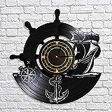 SHILLPS Barco de Ancla Brújula Naval Vintage Decoración de Pared náutica Arte del hogar Reloj de Pared Marineros Disco de Vinilo Reloj de Pared Regalos de navegación Hechos a Mano NO LED