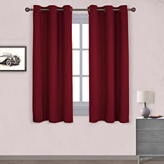 NICETOWN Thermal Insulated Solid Grommet Blackout Curtains/Drapes for Living Room (1 Pair,42 by 63 inches,Burgundy Red)